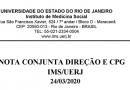 Nota conjunta Direção e CPG IMS/UERJ em 24/03/2020