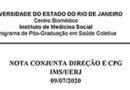 Nota conjunta Direção e CPG IMS/UERJ em 09/07/2020