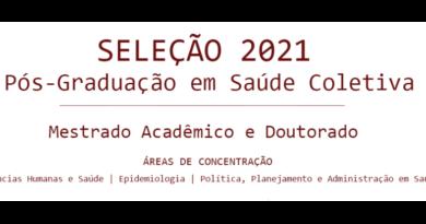 Edital de Seleção 2021-1 para Doutorado e Mestrado Acadêmico