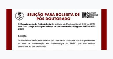 SELEÇÃO DE CANDIDATOS A BOLSA DE PÓS-DOUTORADO EPIDEMIOLOGIA – Programa PNPD- CAPES 2020