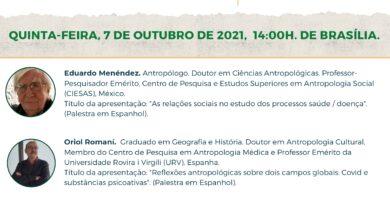 """07/10/2021: Webinar """"Antropologia Médica, Saúde Coletiva e Pandemia/Sindemia Global"""" – com participação do professor Sérgio Carrara (IMS)"""